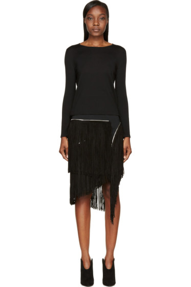 Jay Ahr - Black Zip Suede Fringe Sweater Dress