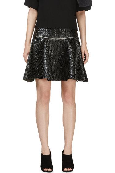 Jay Ahr - Black Embossed Leather Circle Skirt