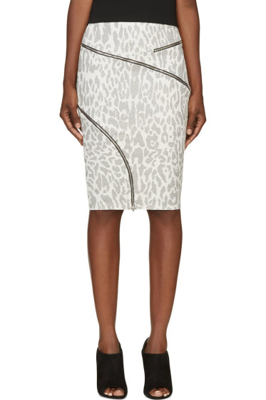 Jay Ahr - White & Black Ziparound Leopard Pencil SKirt
