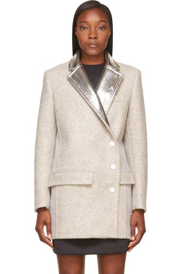Paco Rabanne - Grey Wool & Silver Foil Coat