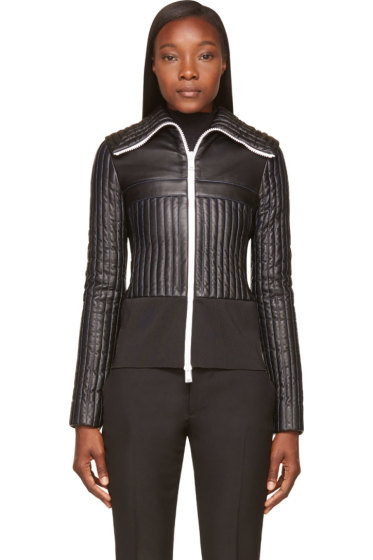 Paco Rabanne - Black Leather Quilted Fitted Jacket