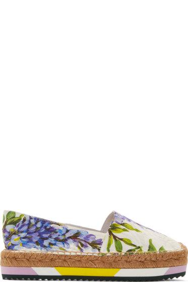 Dolce & Gabbana - White Lavender Print Espadrilles