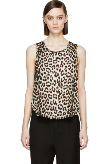 Rag & Bone - Beige Leopard Silk Top
