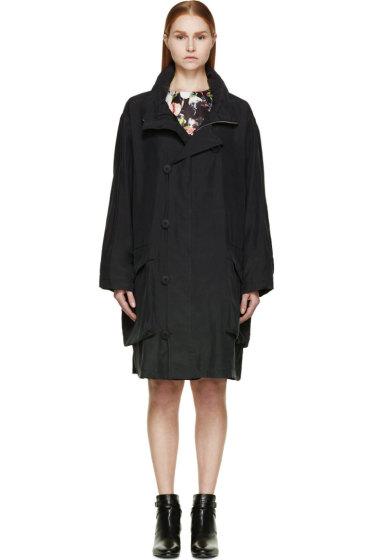 McQ Alexander Mcqueen - Black Parachute Silk Oversize Military Coat