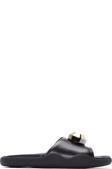 Christopher Kane - Black Leather Gold Gem Pool Sandals