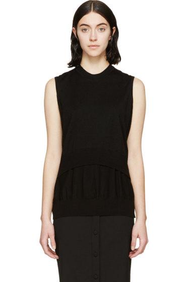 Alexander Wang - Black Knit Merino Layered  Top