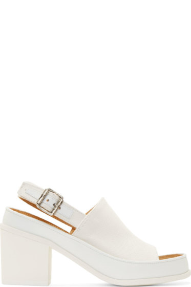 MM6 Maison Margiela - White Canvas Sling Back Heels