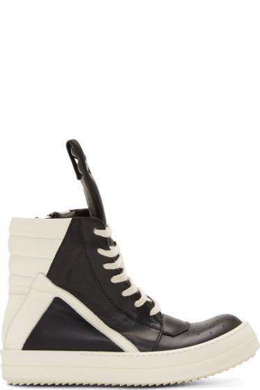 Rick Owens - Black & White Geobasket High-Top Sneakers