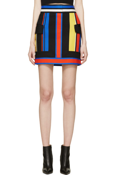 Balmain - Black Colorblocked Skirt