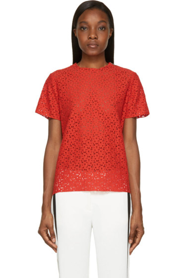 Lanvin - Red Lace Poppy Blouse