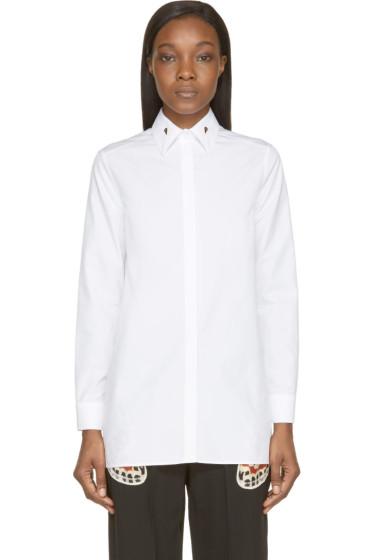 Givenchy - White Poplin Long Button-Up Shirt