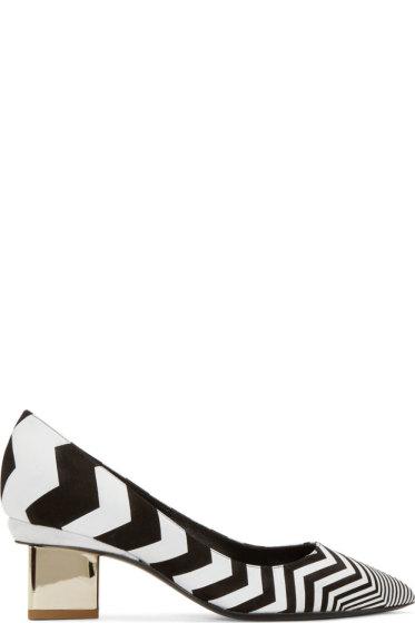 Nicholas Kirkwood - Black Chevron Triangle Pumps
