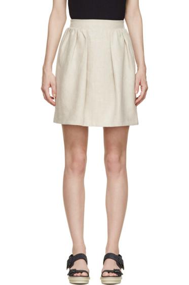Carven - Beige Linen Pleated Skirt