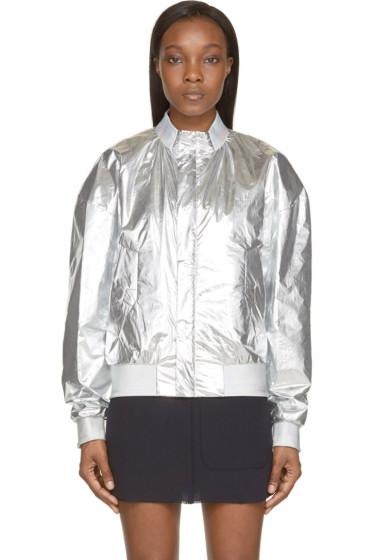 Juun.J - Silver Foil Bomber Jacket