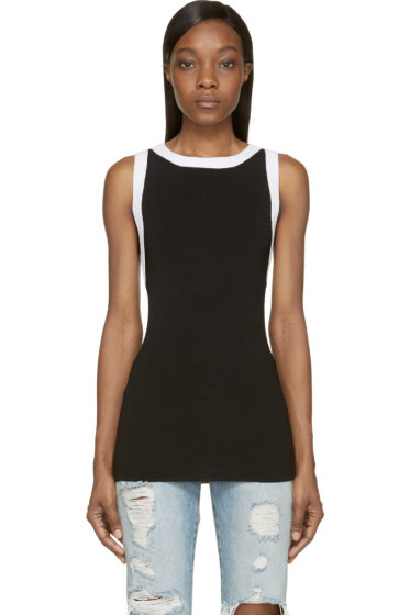 Pierre Balmain - Black Rib Knit Tank Top