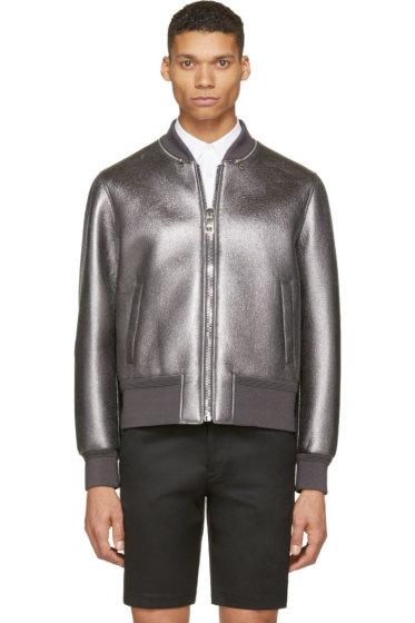 Neil Barrett - Gunmetal Metalllic Leather Bomber Jacket