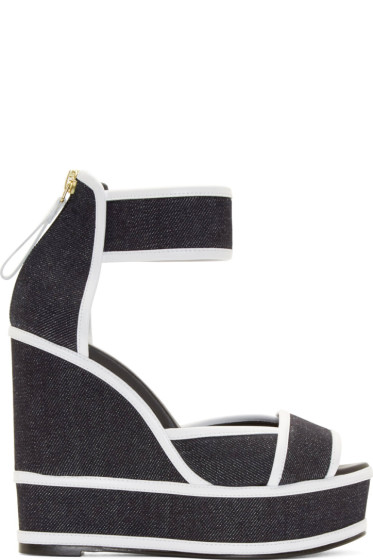 Pierre Hardy - Navy Denim Wedge Sandals