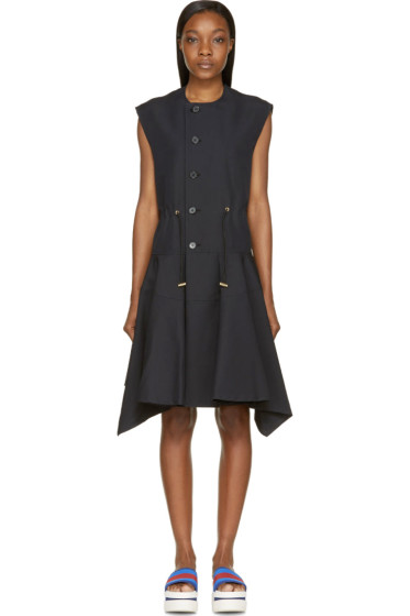 Marni - Coal Sleeveless Button-Up Pleated Coat