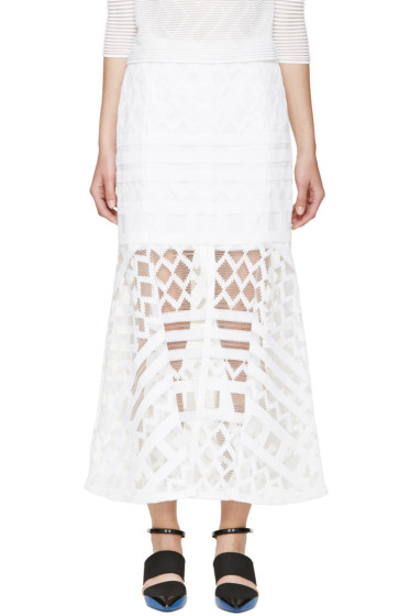 Kenzo - White Graphic Net Weave Skirt