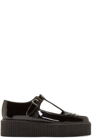 Underground - Black Patent Leather T-Strap Creepers