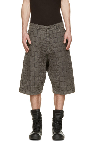 KTZ - Grey Denim Croc Washed Shorts
