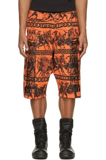 KTZ - Orange & Black Jersey Greek Print Shorts
