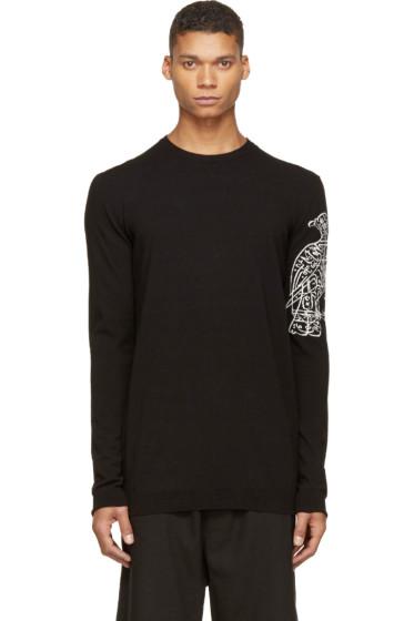 Thamanyah - Black Knit Bird Print Sweater