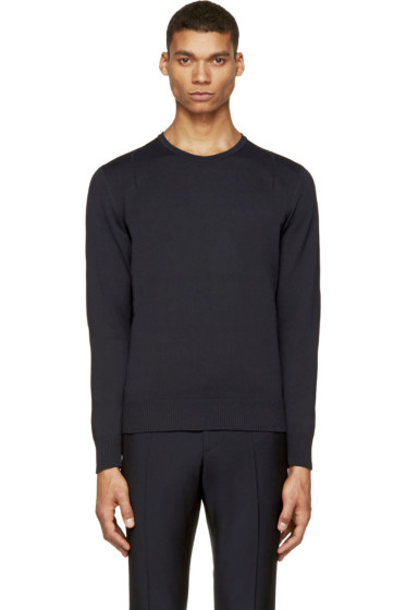 Calvin Klein Collection - Navy Open-Knit Detail Sweater