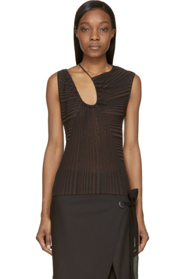Costume National - Black Zucca Striped Drape Top