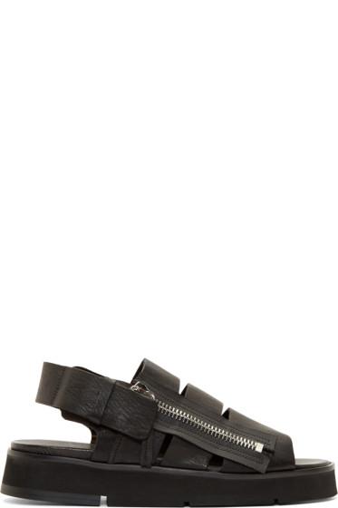 Cinzia Araia - Black Leather Zip Sandals