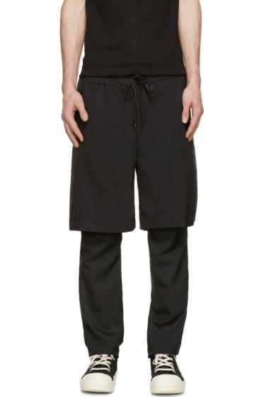 D.Gnak by Kang.D - Black Layered Gym Shorts