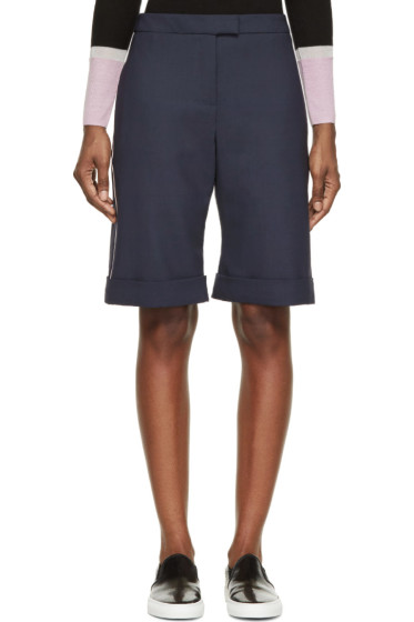 Mother of Pearl - Navy Wool Tailoring Rolled Cuffs Shorts