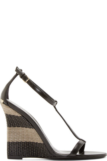 Burberry London - Black Leather Raffia Sidworth Sandals