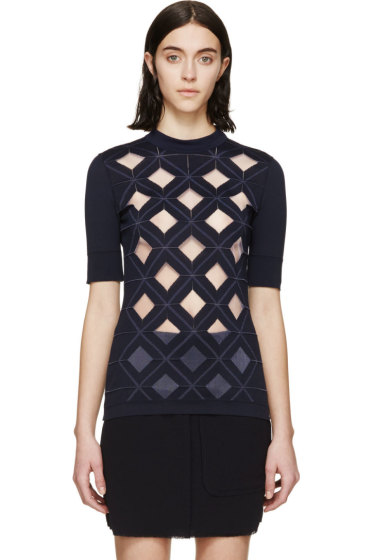 Paco Rabanne - Navy Diamond Cut-Out Top