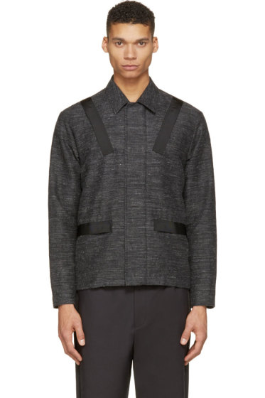Johnlawrencesullivan - Charcoal Slub Banded Jacket