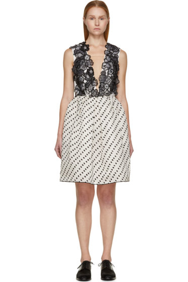 Erdem - Black & White Silk Becca Dress