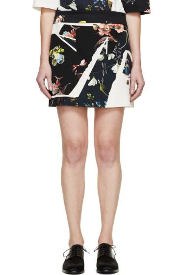 Erdem - Navy & Ivory Botanical Shard Mari Mini Skirt