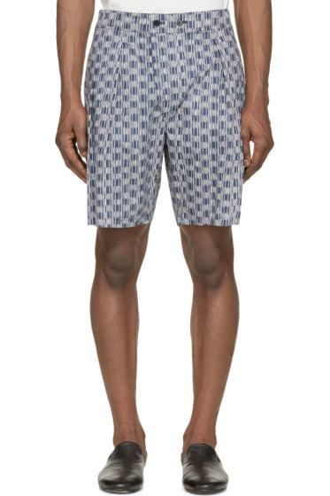 Lemaire - Midnight Blue & Ivory Striped Shorts