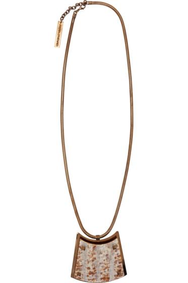 Caterina Zangrando - Pink Marbled Resin & Brass Necklace