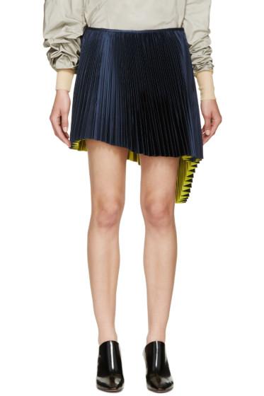 Thomas Tait - Navy Pleated Asymmetrical Skirt