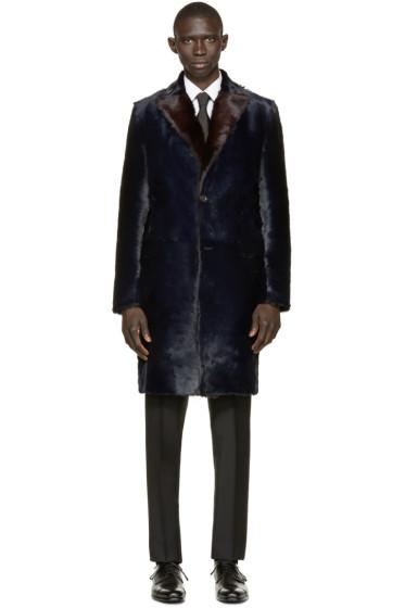 Dolce & Gabbana - Navy Long Calf Fur Coat