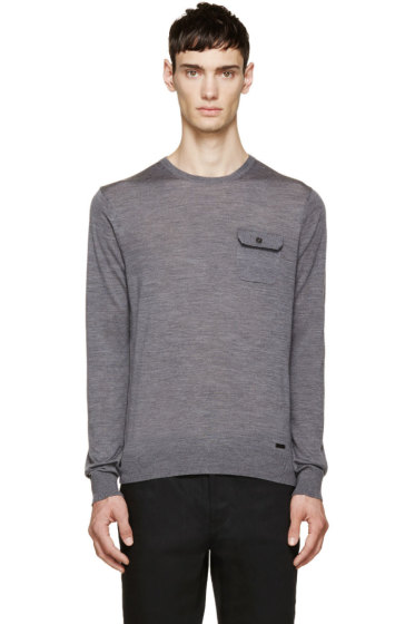 Dsquared2 - Grey Mélange Knit Pocket Sweater