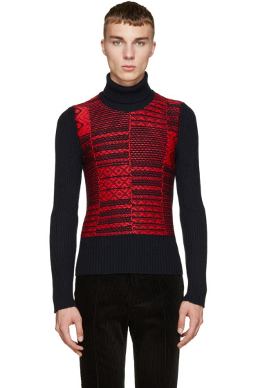 Maison Margiela - Red & Blue Reverse Knit Turtleneck