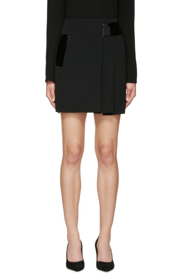 Christopher Kane - Black Pleated Patent Band Skirt