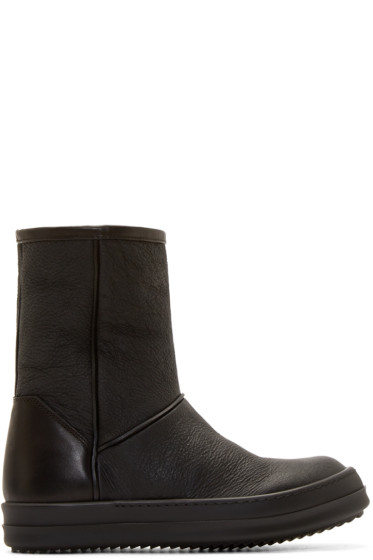 Rick Owens - Black Shearling Ankle Boots