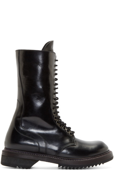 Rick Owens - Black Leather Army Boots