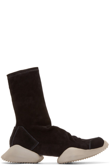 Rick Owens - Black Suede adidas by Rick Owens High-Top Sneakers
