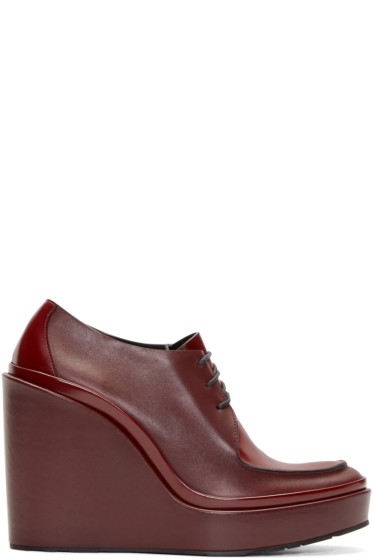 Jil Sander - Burgundy Leather Wedge Boots