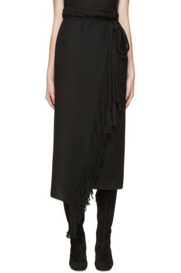 Lanvin - Black Fringed Wrap Skirt