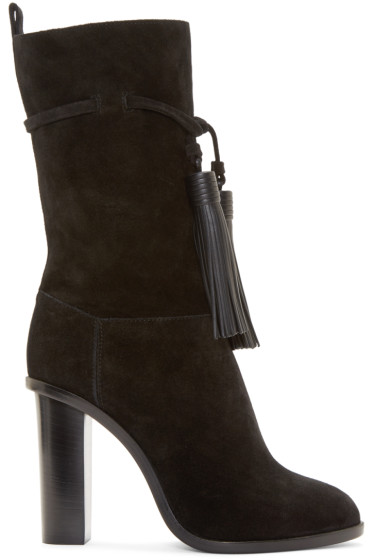 Lanvin - Black Suede Fringed Boots